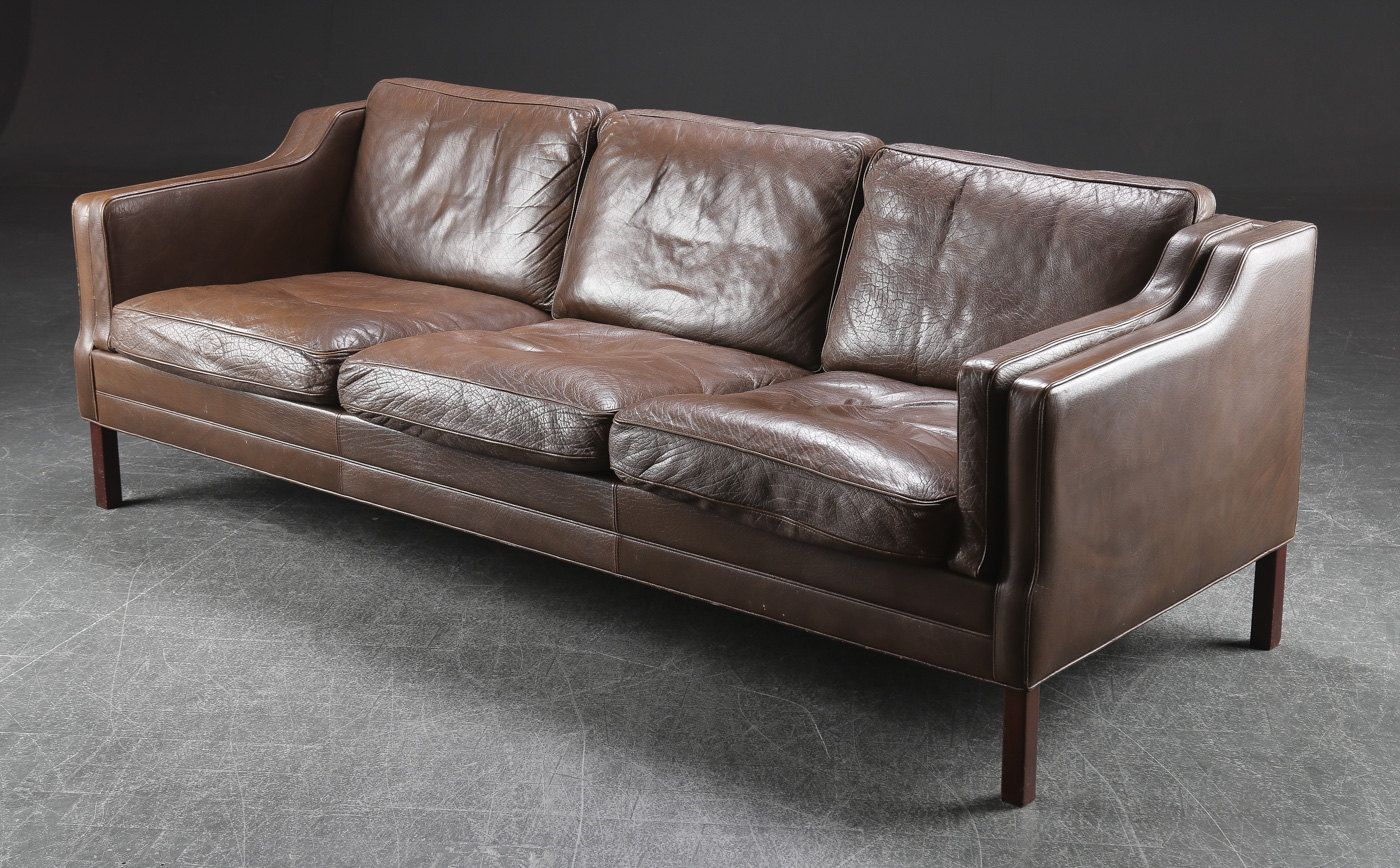 Great 3 Seater Sofa Thick Brown Buffalo Leather And Wood Vintage