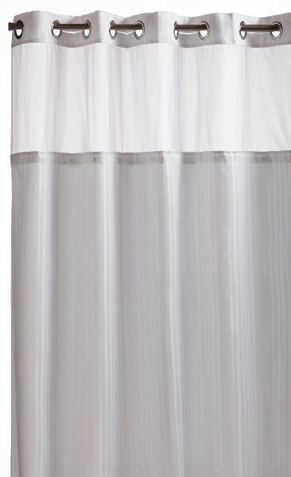 Hookless Herringbone Built In Fabric Liner Fabric Shower Curtain
