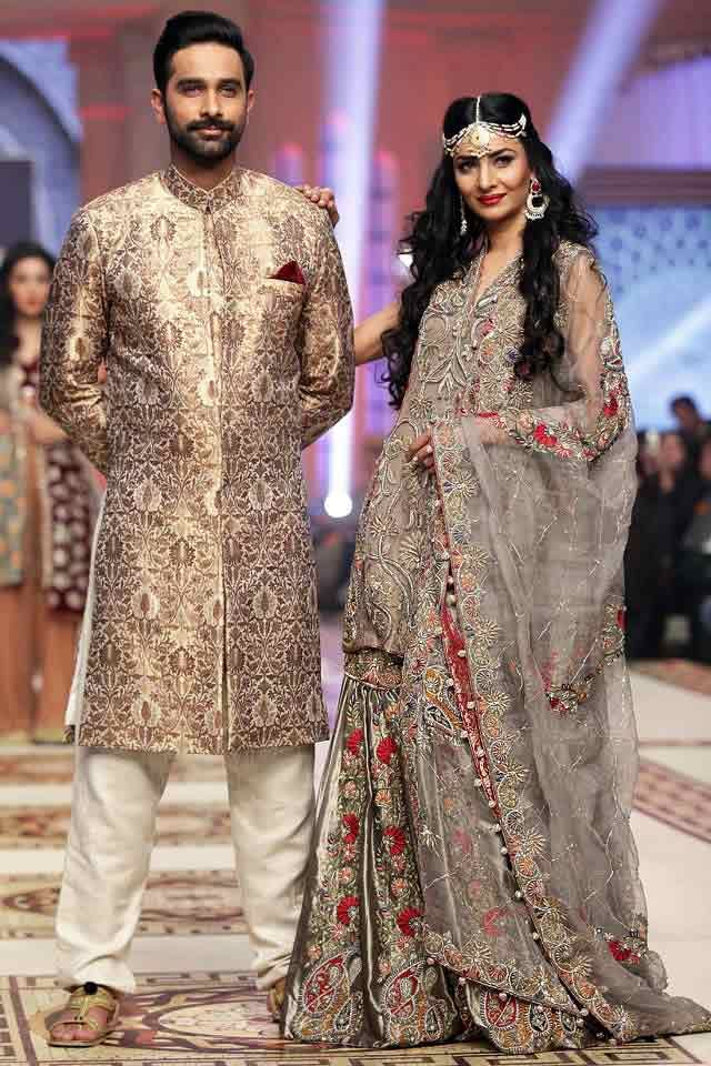 7df1ef3de6 Bridal in classy ash grey dress with dupatta and groom in matching short  sherwani with white