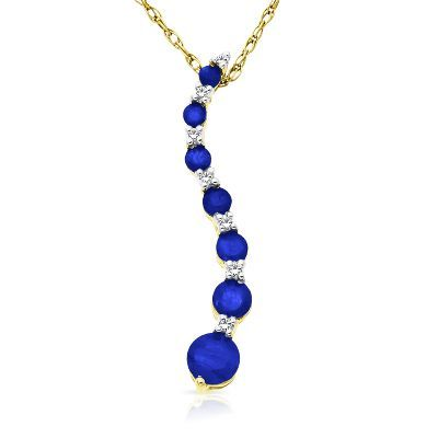 Sapphire journey pendant in 14k gold available at helzbergdiamonds sapphire journey pendant in 14k gold available at helzbergdiamonds aloadofball Image collections