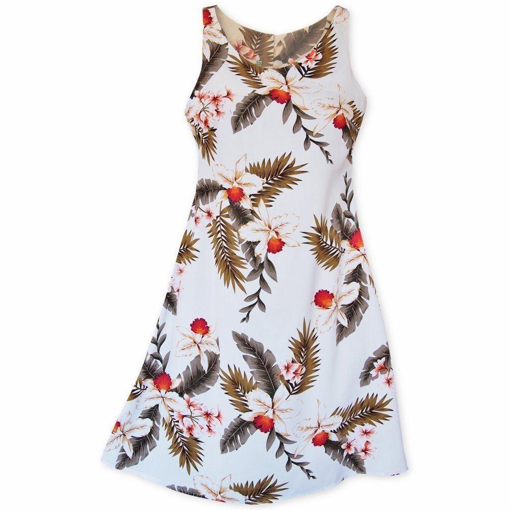 2896a7f47ea Always designed in Hawaii at Lavahut! Moon White Fiesta Hawaiian Dress   lavahut  alohadress