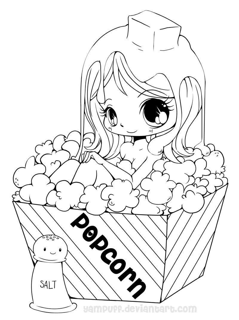 Popcorn Girl Lineart By Yampuff On Deviantart Deviantart Chibi