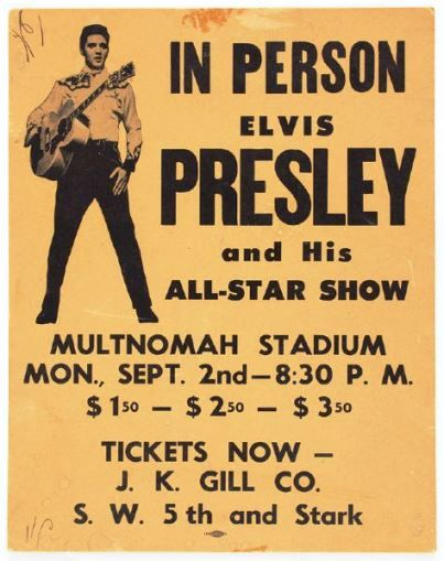 1957 Multnomah Stadium Concert Poster | poster for concert in Portland, Oregon on September 2nd, 1957, shows Elvis in his western outfit from the movie Loving You.