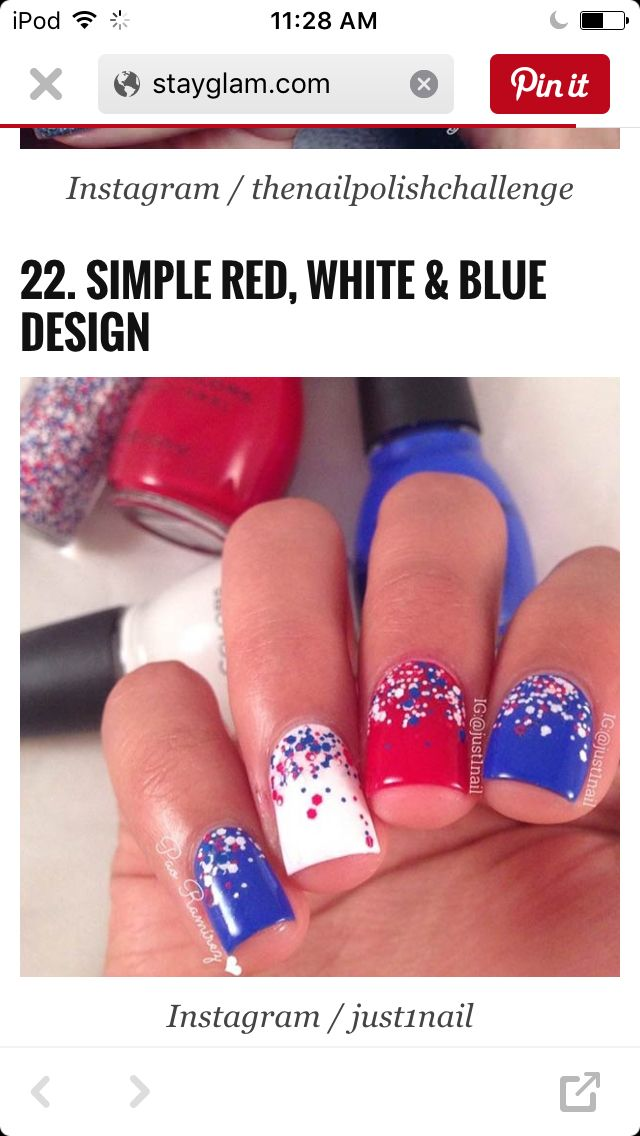4th of july nails 4th of july nails pinterest makeup nail simple red white blue nail design of july nail art prinsesfo Images