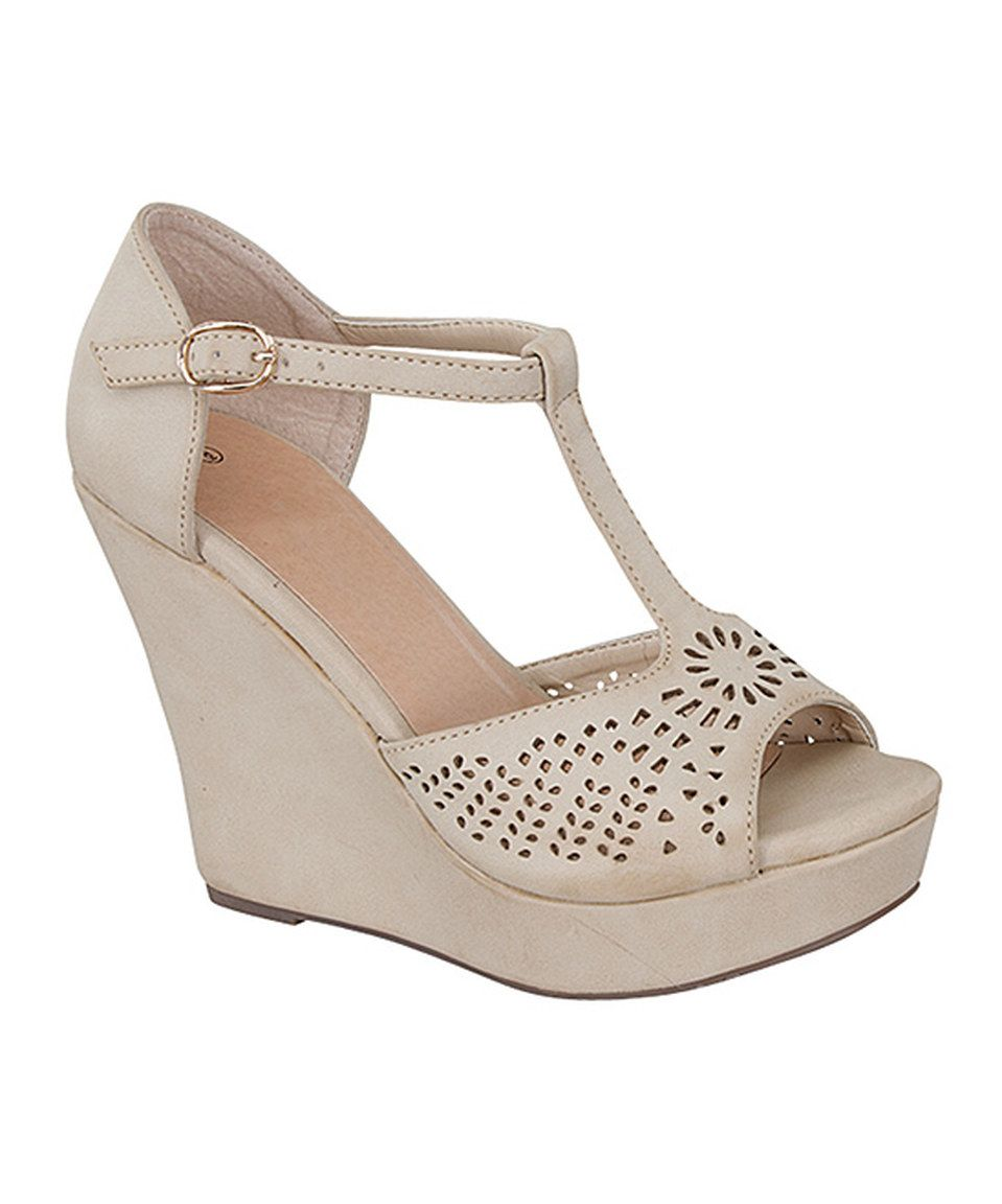 db4e1212f7b3 Look at this  zulilyfind! TOP MODA Beige Ella Wedge by TOP MODA  zulilyfinds