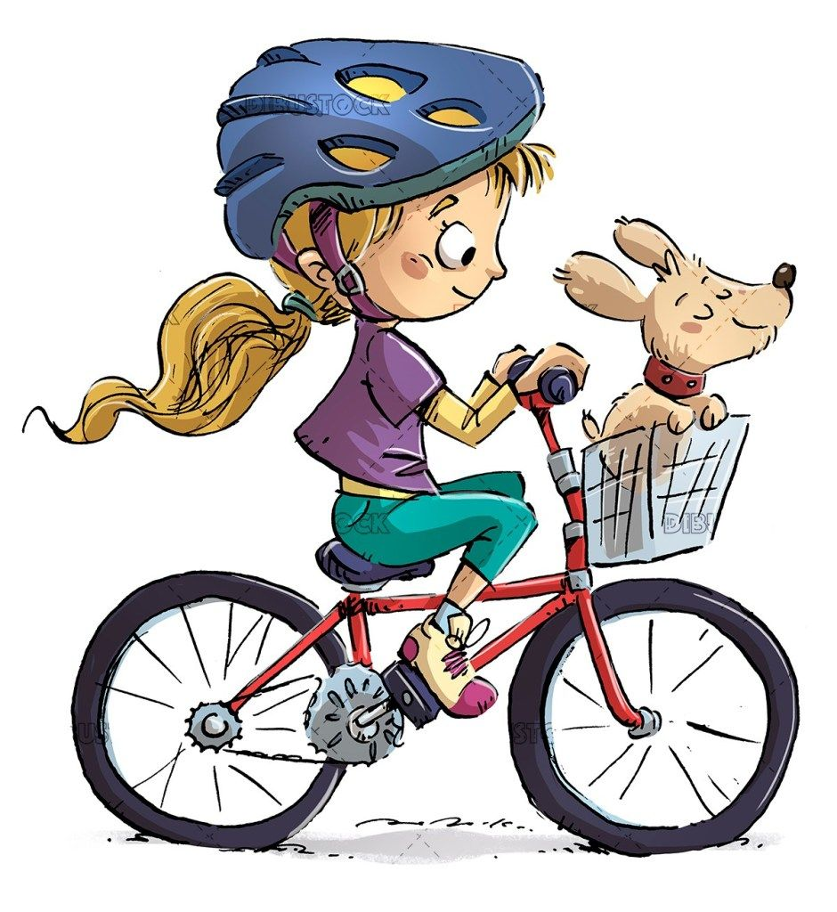 Little Girl On Bicycle With Her Dog Bike Drawing Bicycle