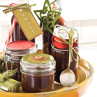 Homemade hot fudge sauce in cute containers for Christmas gifts