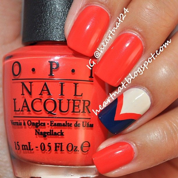 Chevron accent   used OPI My Vampire is Buff, OPI My Paprika is Hotter than Yours, & OPI I Saw... U Saw... We Saw... Warsaw.  @heartnat24 #beauty #makeup #nailart