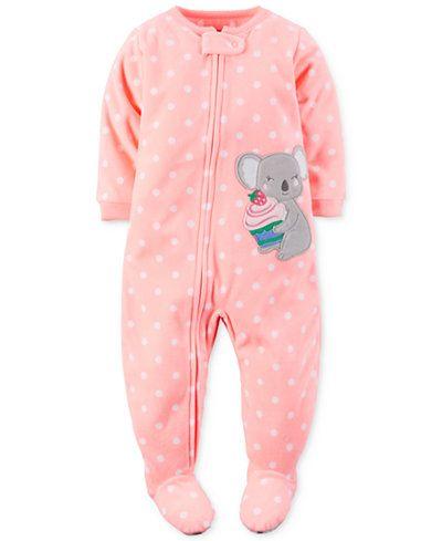 Carter s Baby Girls  1-Pc. Dot-Print Koala Footed Pajamas ... cee7a8bd7