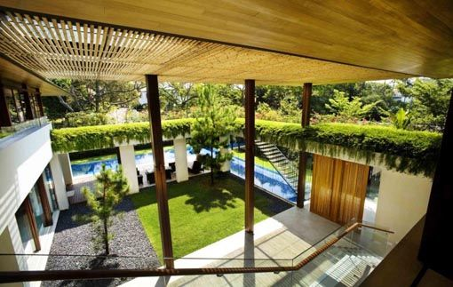 The Courtyard Which Is The Central Design Influence Of The Floorplan Courtyard House Plans Courtyard House Tropical House Design
