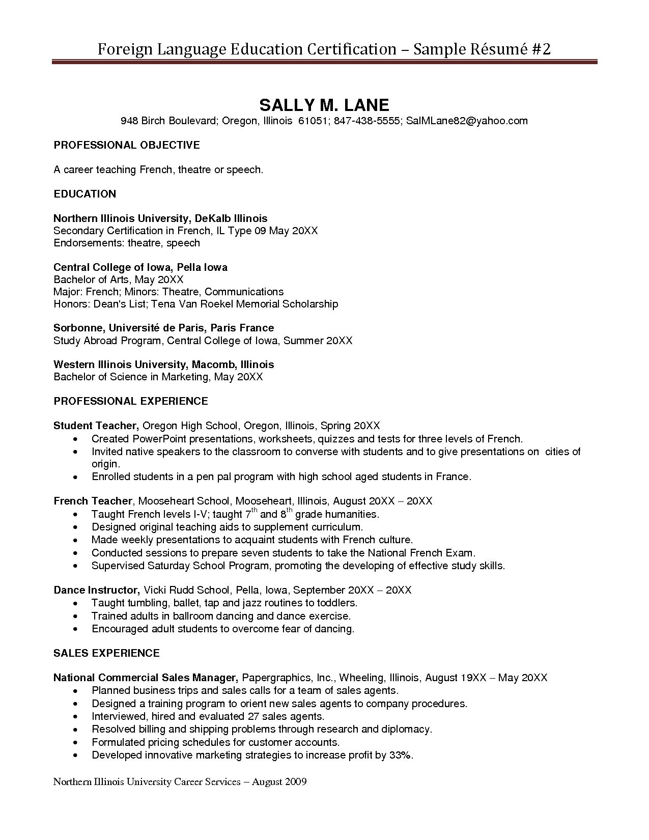 sample resume with certifications listed