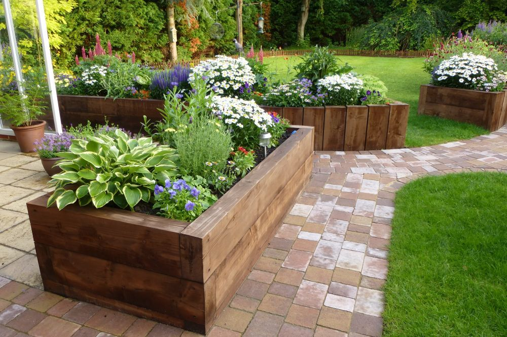 raised beds from new eco pine railway sleepers Raised