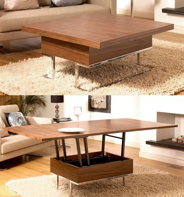 A Small Square Compact Walnut Veneer Coffee Table That When Needed
