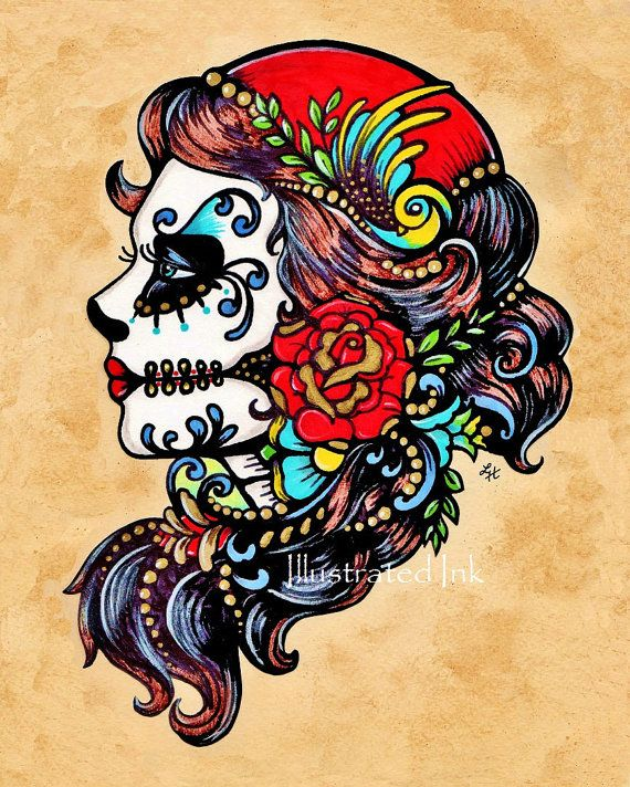 Day of the dead tattoo flash art beauties 8 x 10 or 11 x for Old school day of the dead tattoo