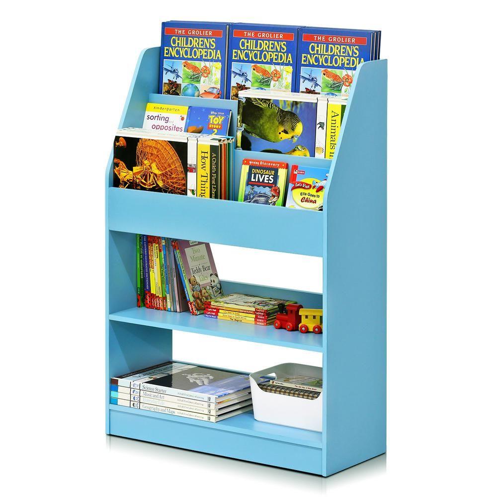 Furinno Kidkanac 37 01 In Light Blue Faux Wood 5 Shelf Etagere Bookcase With Storage Fr16118lb The Home Depot Bookshelves Kids Book Display Bookshelves