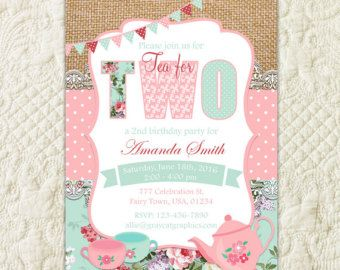 tea for two invitation tea party birthday invite second 2nd