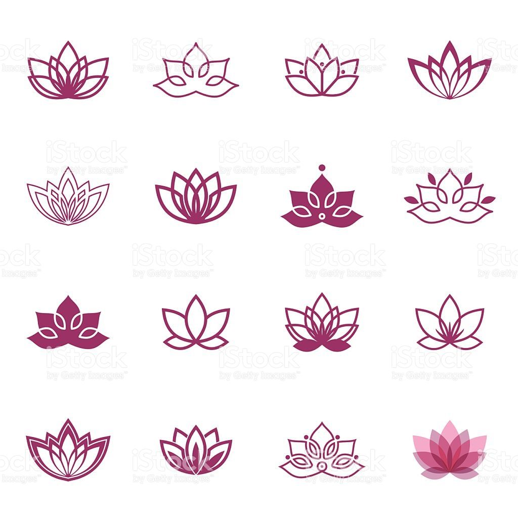 Lotus Symbol Icons Vector Floral Labels For Wellness Industry Tattoos Small Lotus Tattoo Mini Tattoos