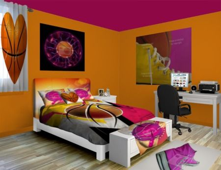 Girls Basketball Room With Pink Basketballs And Pink Hightops. Build A Room  At Http://www.visionbedding.com/Girly Basketball_Bedroom Rm 22849 #Home  Decor