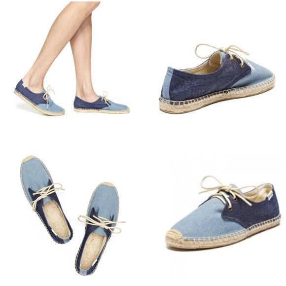 33ed169c61a Soludos lace up color block espadrille Soludos lace up color block  espadrille  the canvas derby is cute for the summer. Color  Denim Rinse  Chambray Blue ...