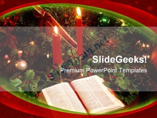Candles Bible Christmas PowerPoint Template 0610 #PowerPoint - christmas powerpoint template