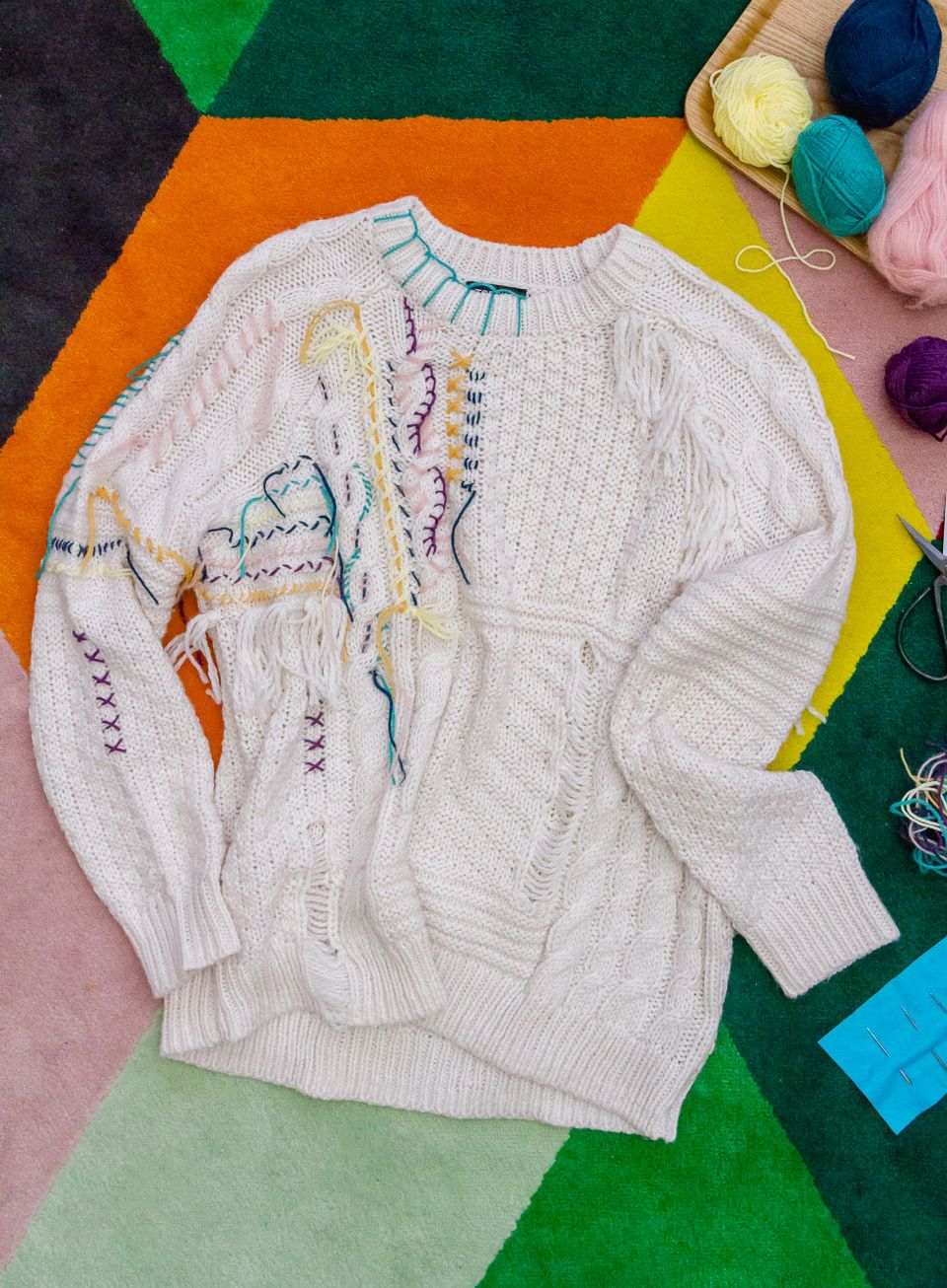 Diy Wool Embroidered Jumper Colorful Fashion
