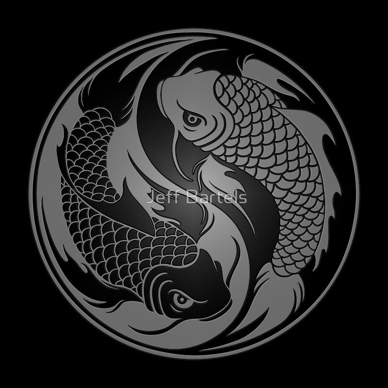 Yin Yang Tattoo Dark Skin: 'Gray And Black Yin Yang Koi Fish' Art Print By Jeff
