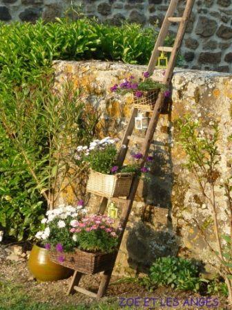 Vielle Echelle Son Recyclage En Jardin Suspendu Jardins