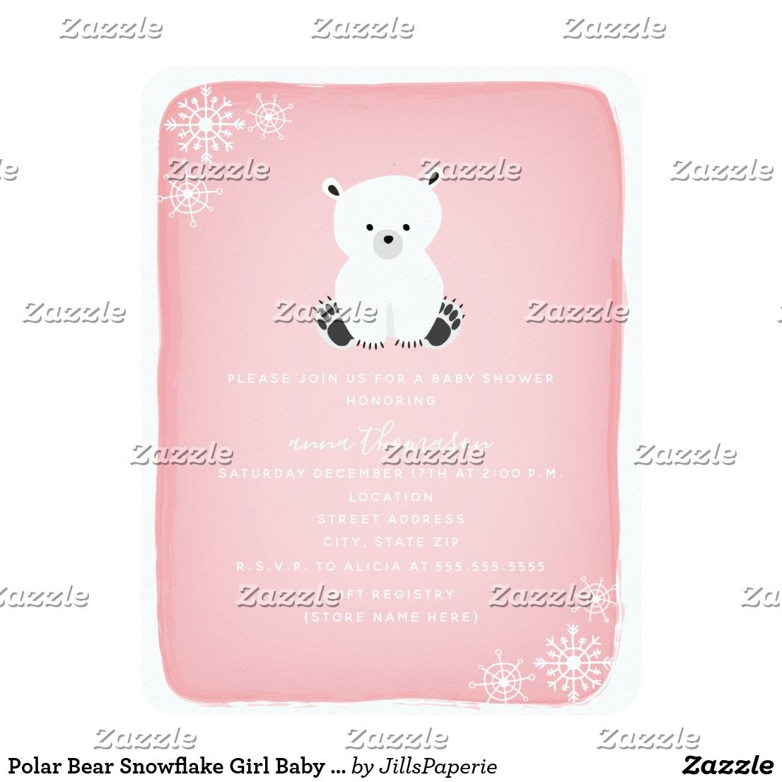 Books For Baby Insert Card 3-PIECE-SUITE Girl Winter Snowflake Diaper Raffle Pink Polar Bear Baby Shower Invitation Package WINT10