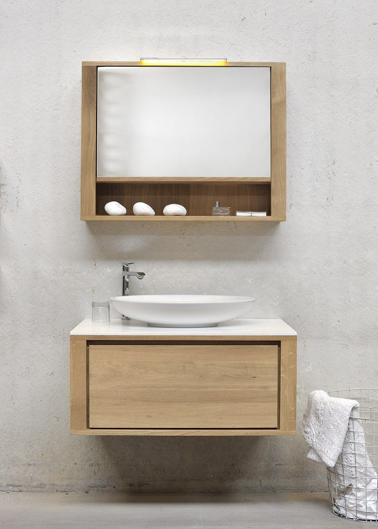 Single Wall Mounted Solid Wood Vanity Unit OAK SHADOW | Single Vanity Unit  By Ethnicraft
