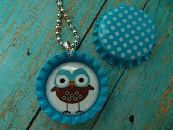 Owl Bottle Cap Necklace by ThreeBlindMice3 on Etsy, $6.00
