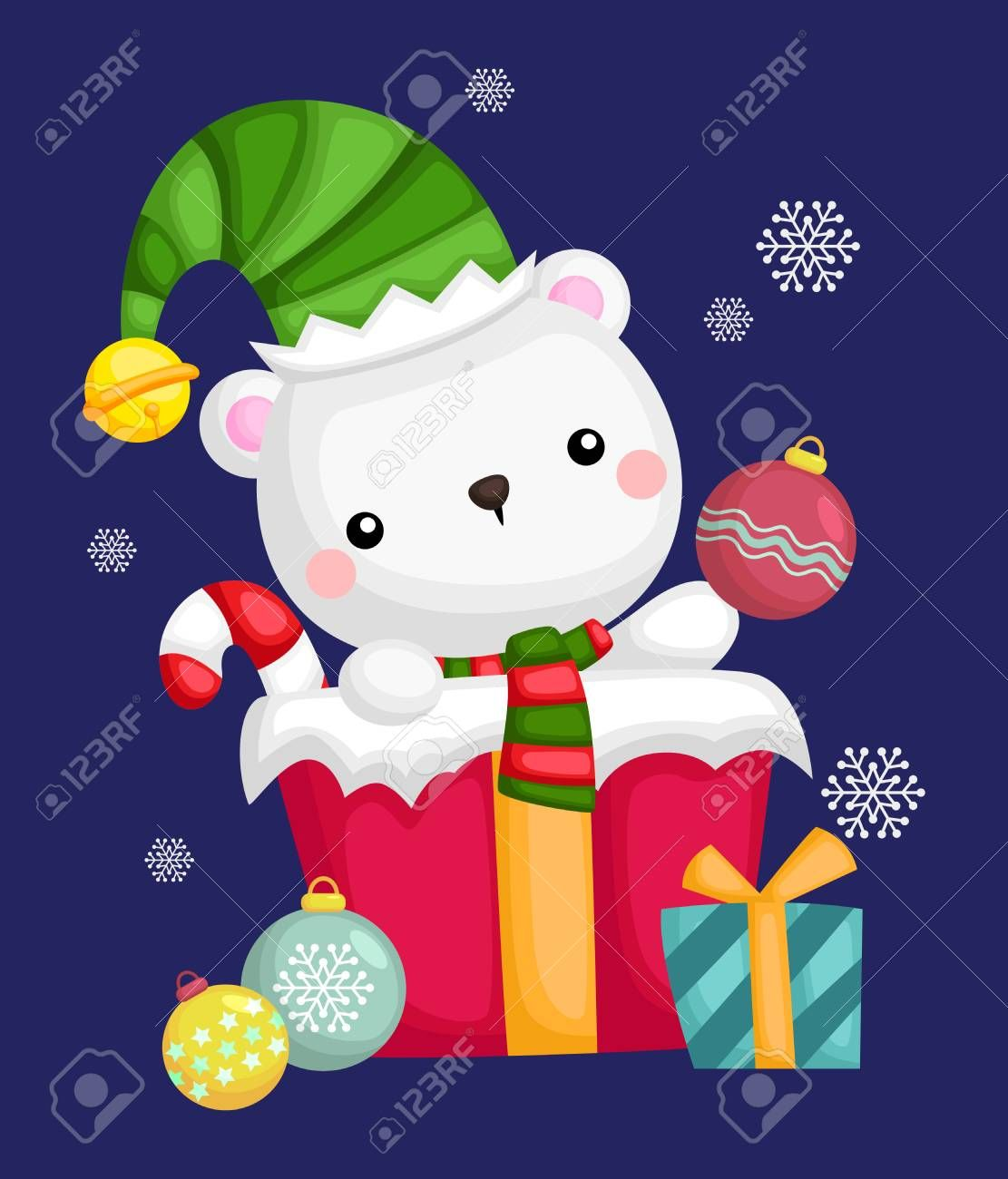 A Big Present With A Cute Polar Bear Aff Present