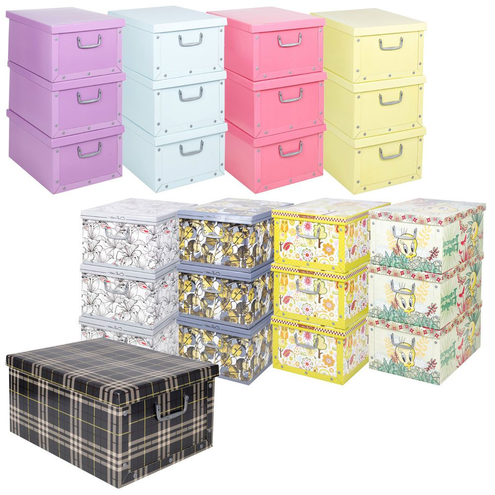 Details about Set Of 3 Underbed Storage Boxes With Lid