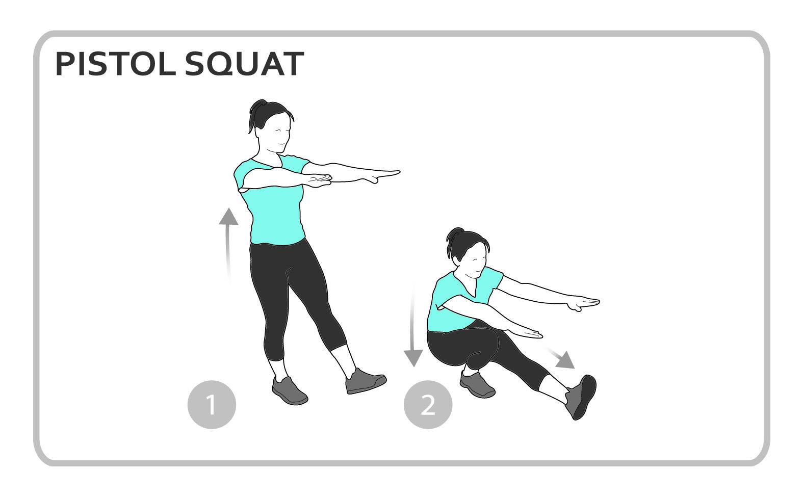 pistol squat exercise diagram lower body personal fitness workout [ 1575 x 975 Pixel ]
