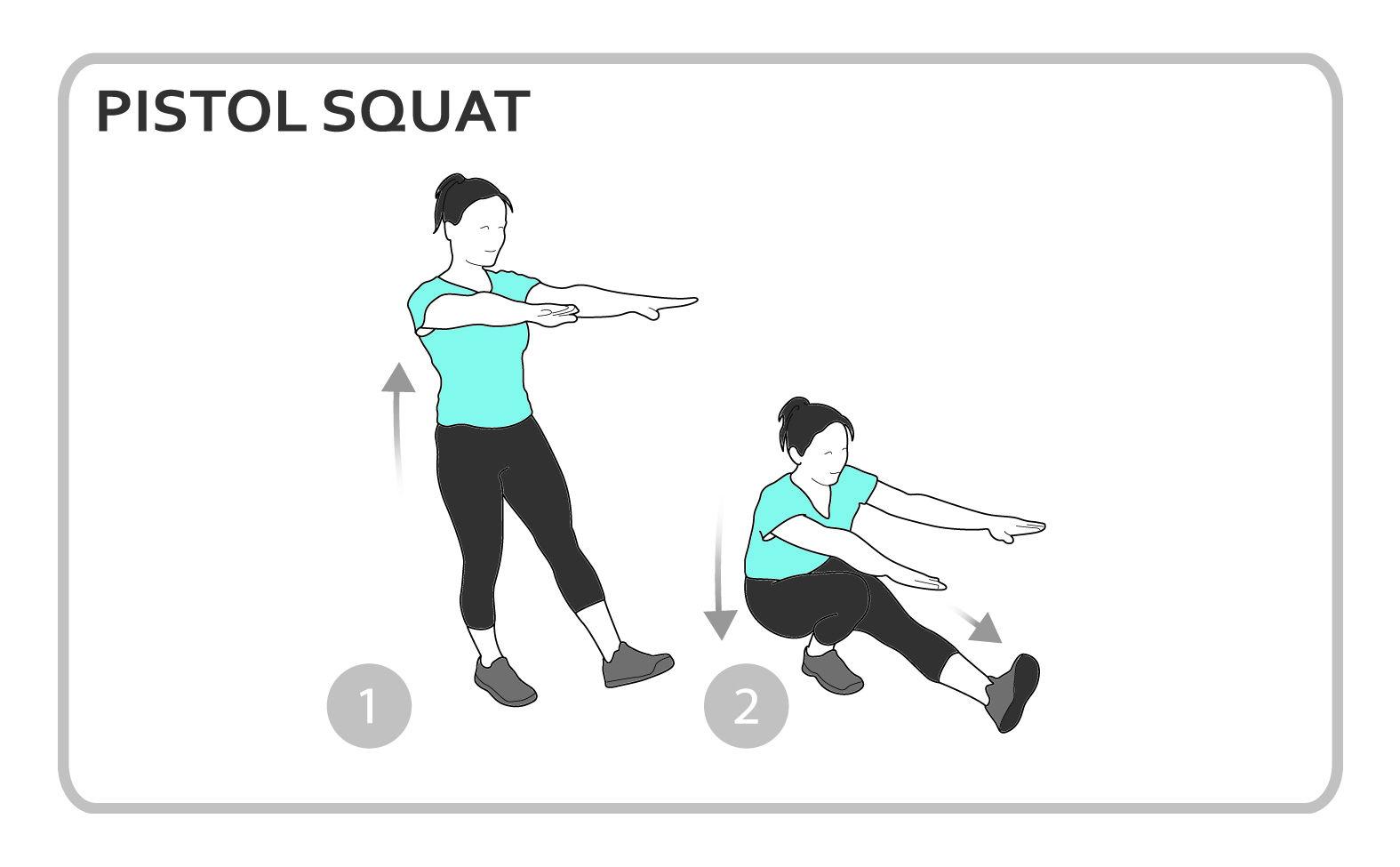 Pistol Squat Exercise Diagram Lower Body Personal Fitness Workout Squat Workout Workout Exercise