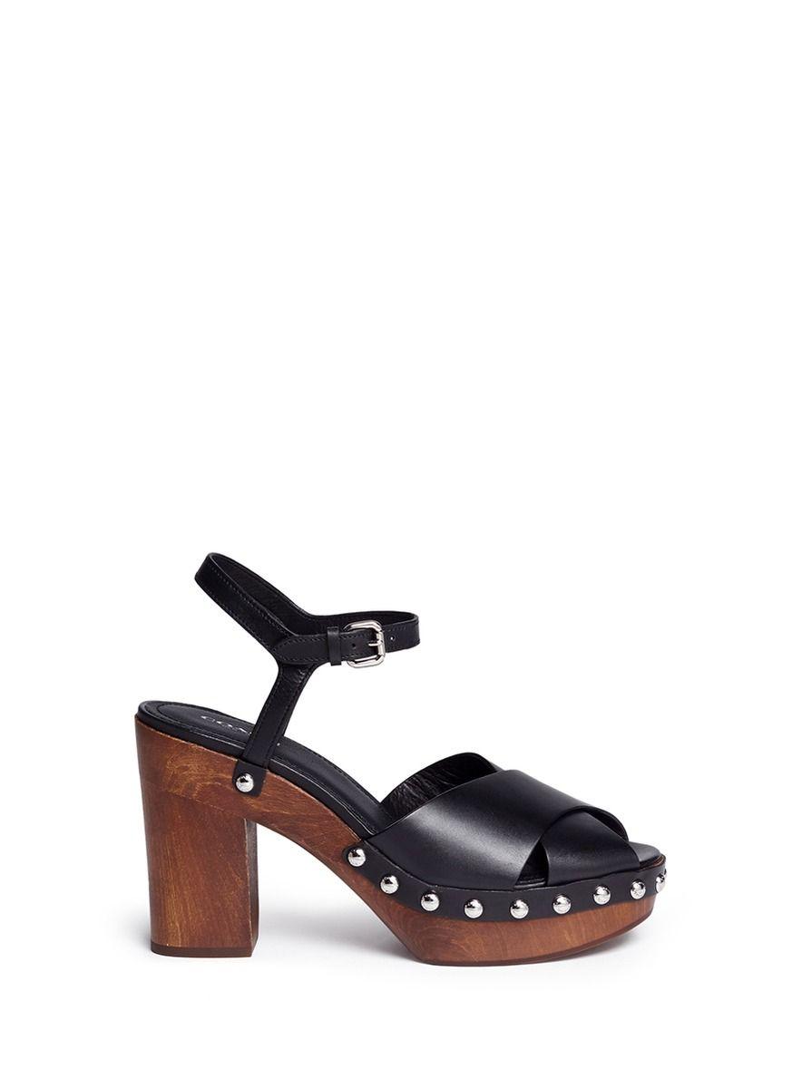 8775bec98640 COACH  Viola  Leather Strap Wood Platform Sandals.  coach  shoes  sandals