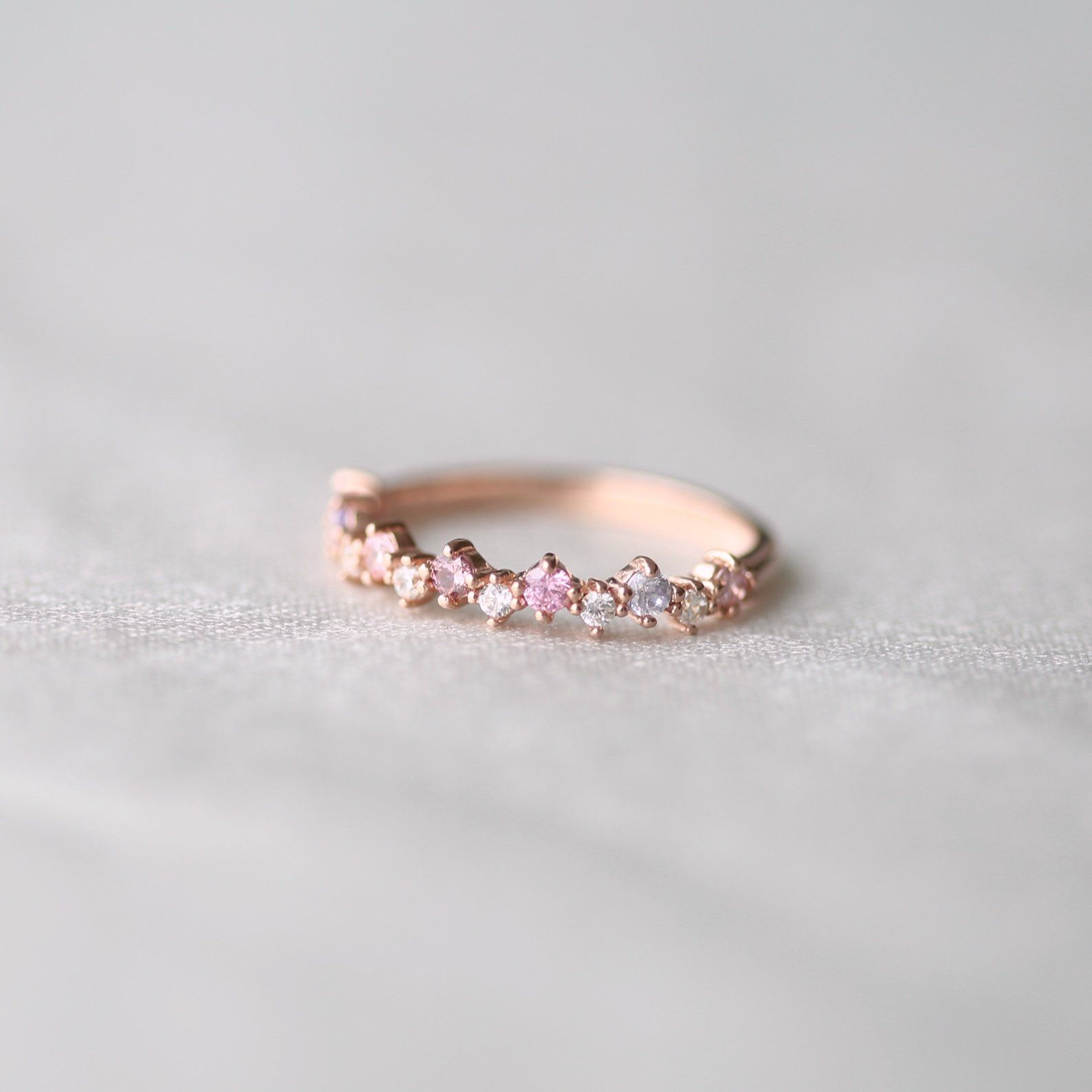 Stackable Ring in silver and pink gold