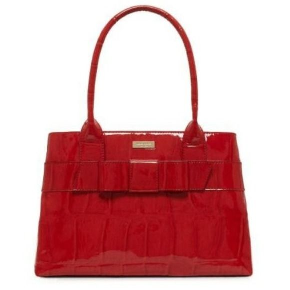 Kate Spade Red Patent Leather Crocodile Embossed Bow Knightsbridge Elena Handbag My Pop Of Color Bag For Dark Outfits