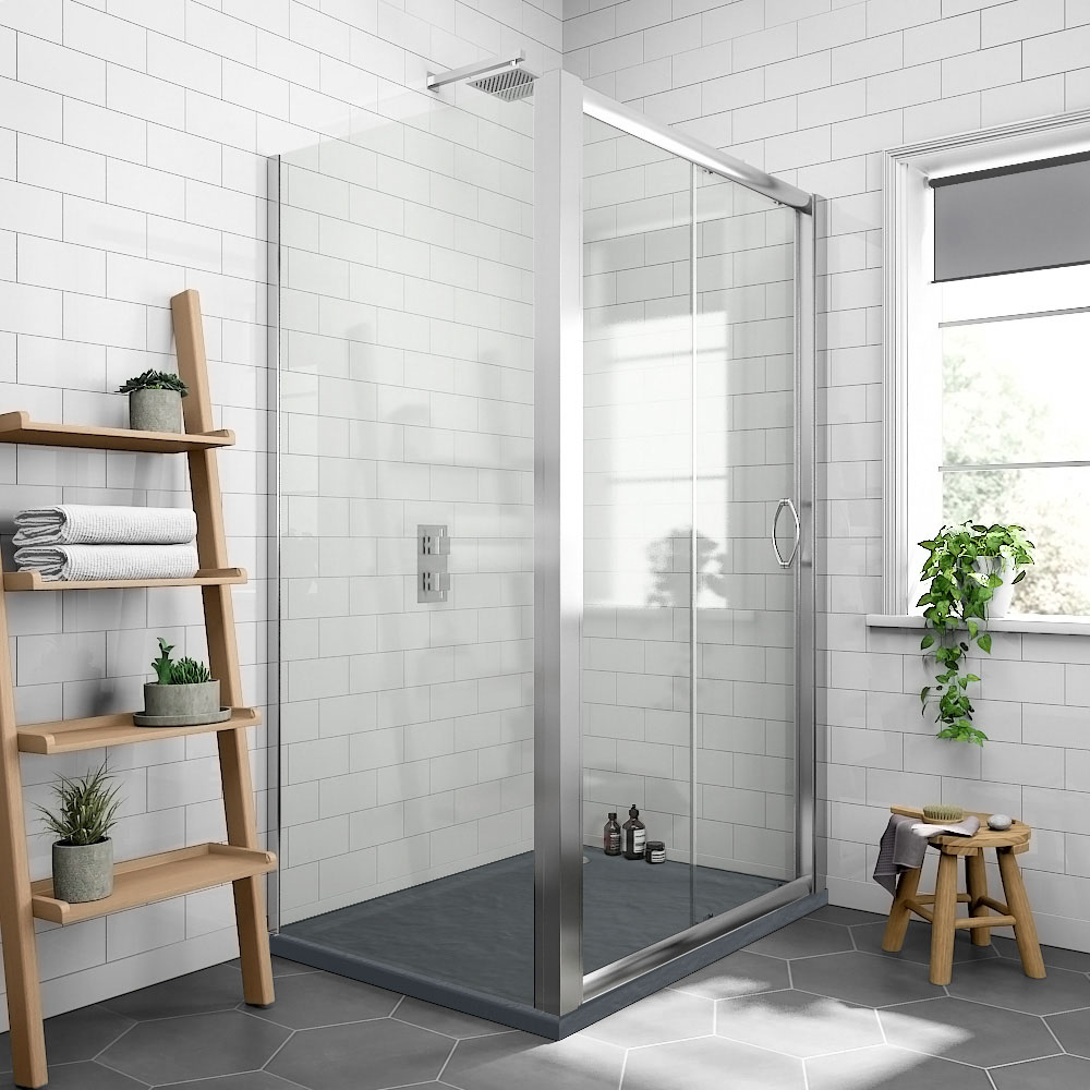Newark 1200 X 800mm Sliding Door Shower Enclosure Slate Effect Tray Victorian Plumbing Uk In 2020 Quadrant Shower Enclosures Quadrant Shower Shower Enclosure