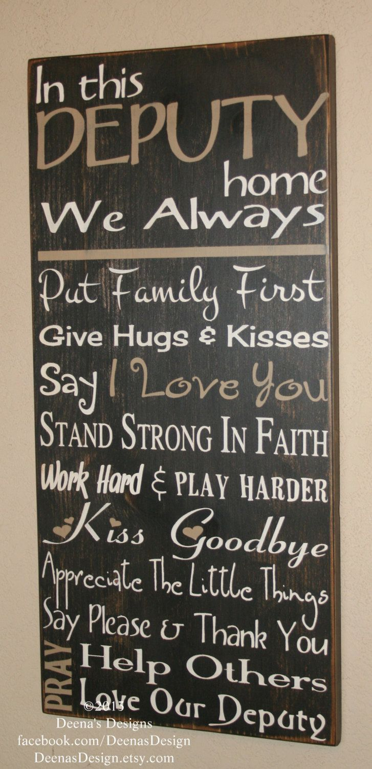 Items similar to Deputy Gift, Law Enforcement Sign, Deputy Sign, Sheriff Sign, Police Officer Sign, Distressed Wood Sign, LEO, Police - In This Deputy Home on Etsy