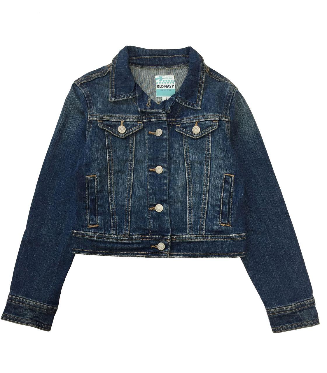 Girls Dark Wash Denim Jacket Jean Jacket For Girls Girls Denim Jacket Kids Outfits [ 1280 x 1121 Pixel ]