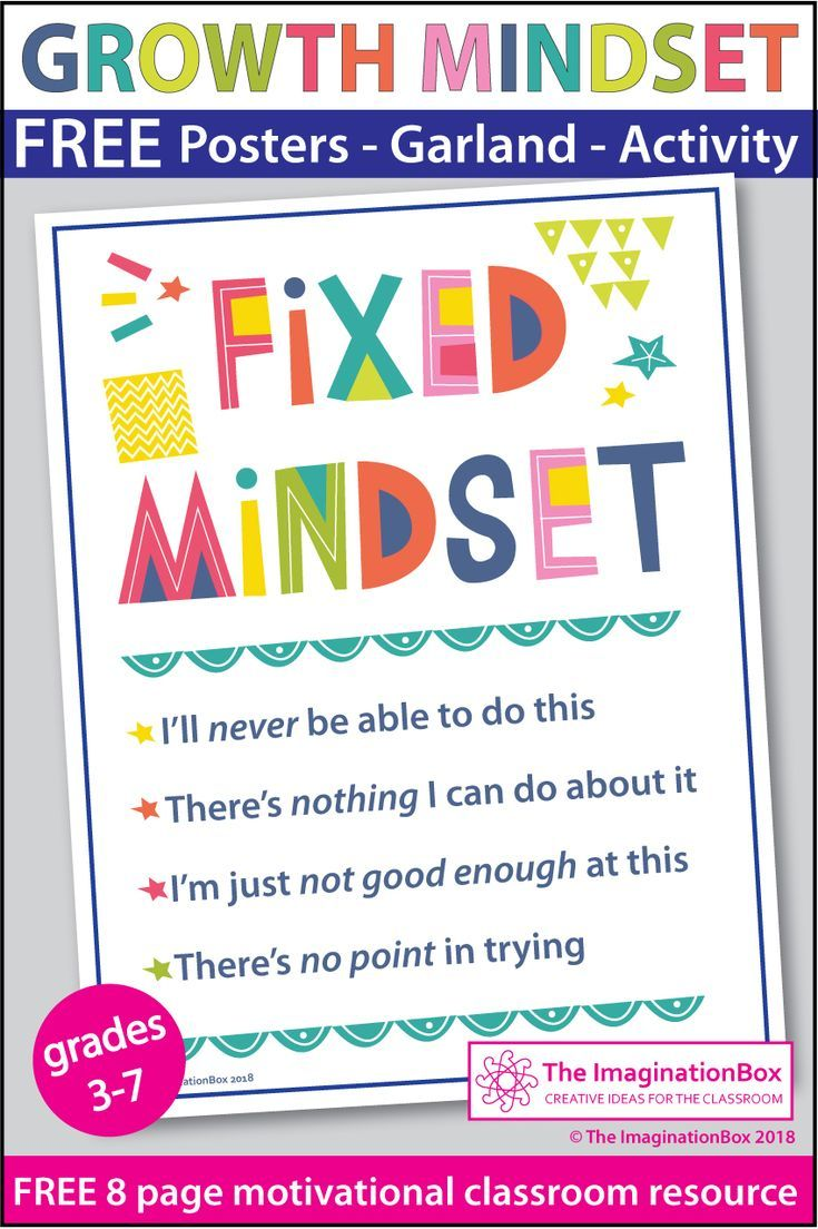 FREE Growth Mindset Posters and Writing Activity Growth