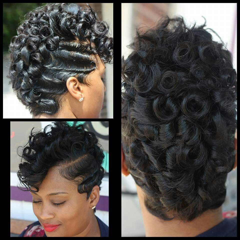 Waves and pin curls by kiastylez ebony hair styles pinterest