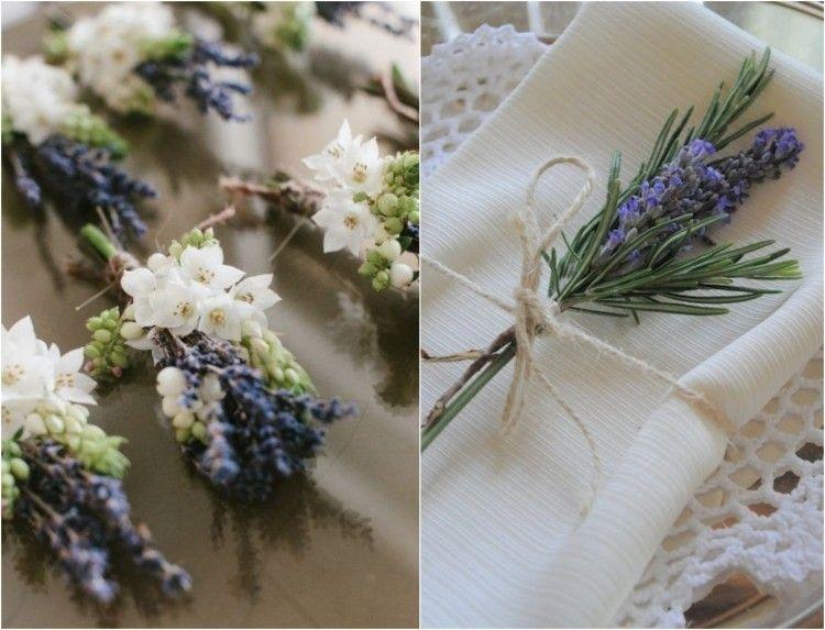 fleurs blanches, lavande officinale, serviette blanche et romarin
