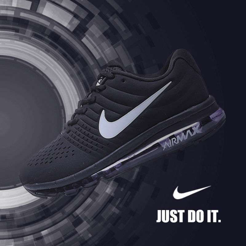25c6d6d8e3907 Nike Air Max 2017 Black Leather Women Men Shoes