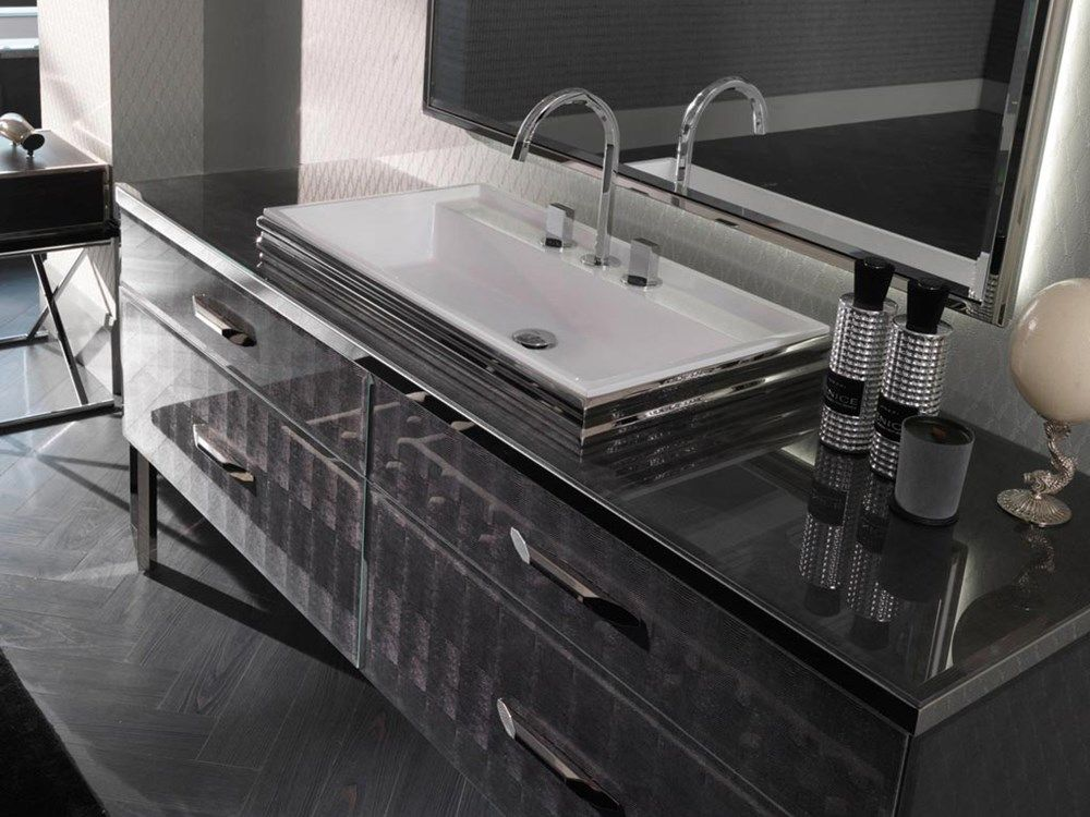 ROCCIA Supply This Product Line: Hilton. Black Sink Vanity Unit.  Contemporary Bathroom Sink