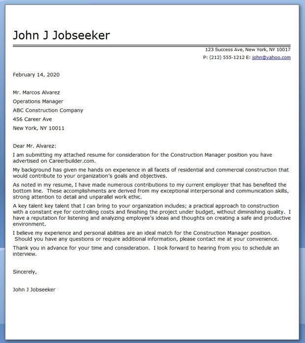 Construction Manager Cover Letter Sample | Resume cover ...