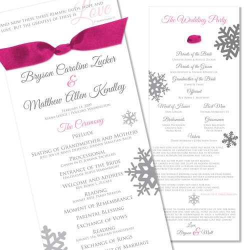 Diy Wedding Programs Silver Cardstock Black Ink Purple Ribbon