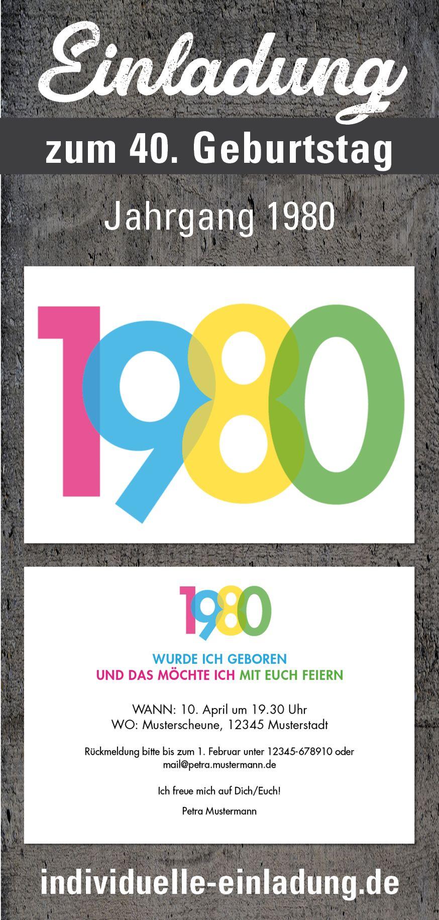 Einladung Zum 40 Geburtstag Jahrgang 1980 Einladung 50 Geburtstag