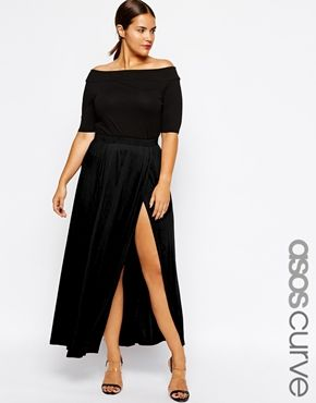 Black off-shoulder maxi-dress with side slit from Asos Curve