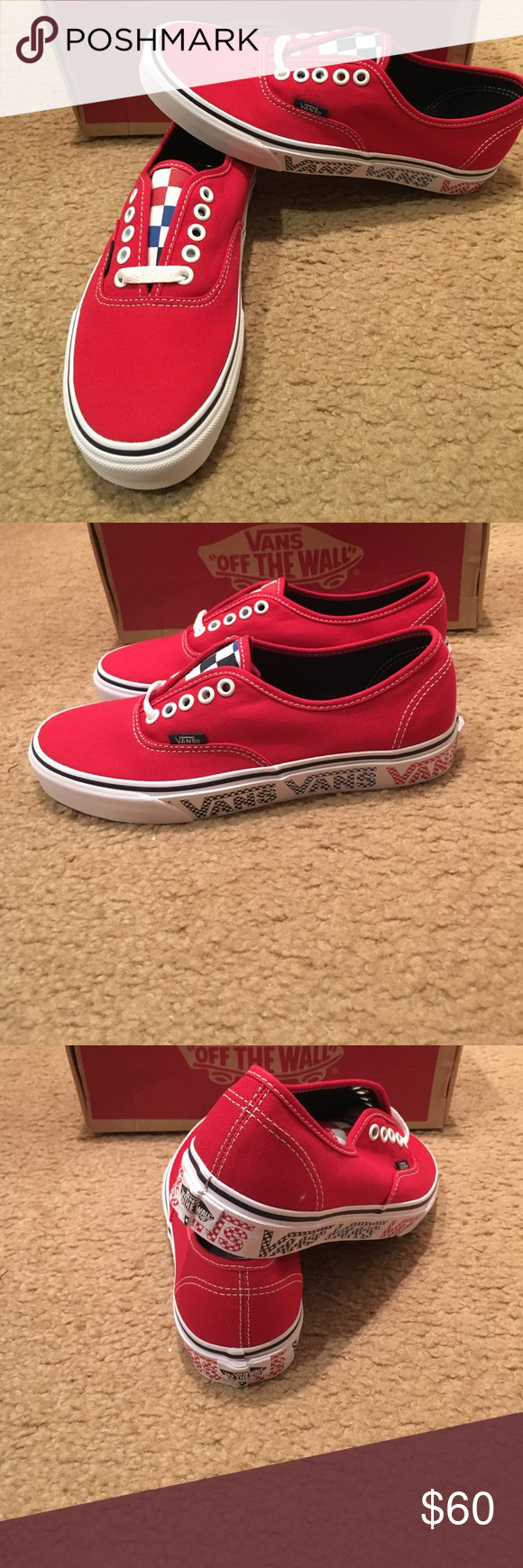 eb86314d79ce Vans Checker Tape Authentic Vans New in box. Red Vans Shoes Sneakers ...